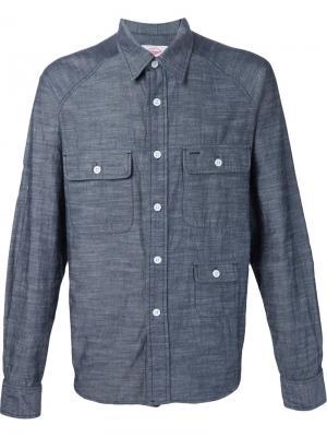 Рубашка с тремя передними карманами Battenwear. Цвет: синий