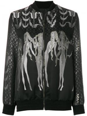 Куртка-бомбер металлик Giamba. Цвет: чёрный