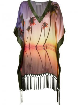 Пляжное платье с принтом пальм Brigitte. Цвет: розовый и фиолетовый