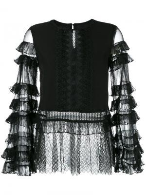 Кружевная блузка с многоярусными рукавами Jonathan Simkhai. Цвет: чёрный