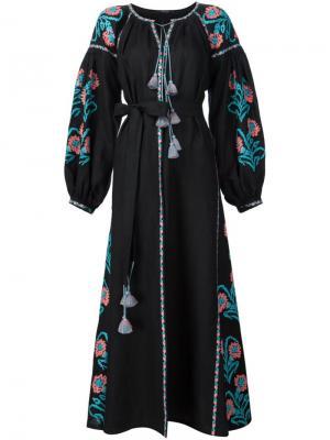 Платье макси с вышивкой Vita Kin. Цвет: чёрный