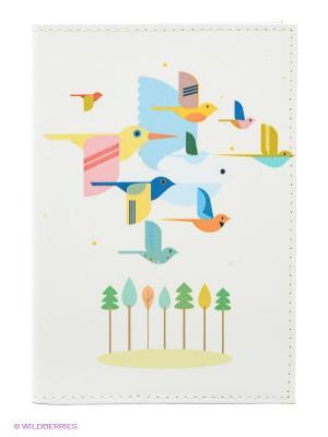 Обложка для автодокументов Птицы на светло-розовом Mitya Veselkov. Цвет: белый, зеленый