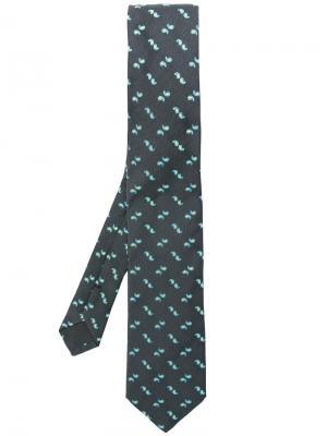 Галстук с вышивкой пейсли Prada. Цвет: серый