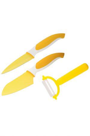 Набор ножей и овощечистка Granchio. Цвет: желтый