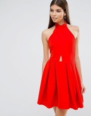 Oh My Love Приталенное платье для выпускного. Цвет: красный