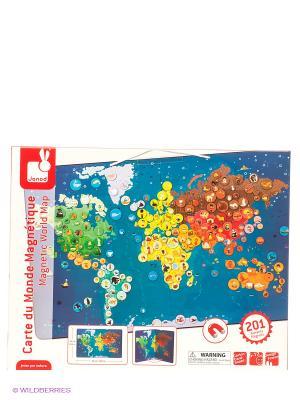 Карта мира с животными-магнитами, 201 элемент Janod. Цвет: синий