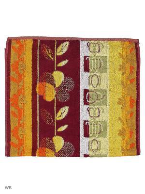 Полотенце махровое пестротканое жаккардовое Цветочное Авангард. Цвет: оранжевый, желтый