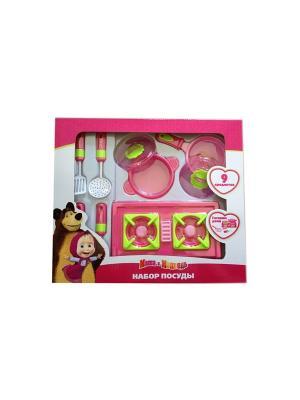 Набор посуды Маша и Медведь Играем вместе. Цвет: розовый