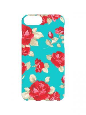 Чехол для iPhone 7Plus Малиновые розы на бирюзовом Арт. 7Plus-259 Chocopony. Цвет: малиновый, бирюзовый