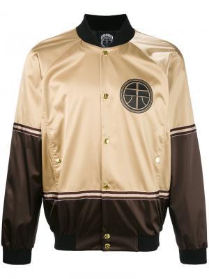 Куртка-бомбер с золотистыми заклепками Astrid Andersen. Цвет: телесный