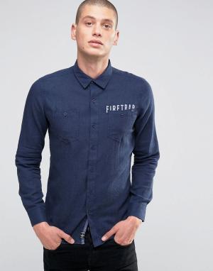 Firetrap Фланелевая рубашка с начесом. Цвет: темно-синий