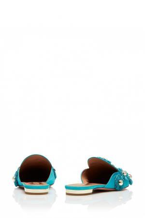 Слиперы Sunflower Flat аквамаринового цвета Aquazzura. Цвет: голубой