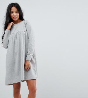 ASOS Petite Свободное платье с длинными рукавами Ultimate. Цвет: серый