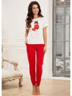 Комплект одежды CLEO. Цвет: молочный, красный