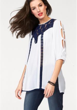 Блузка Aniston. Цвет: белый/синий