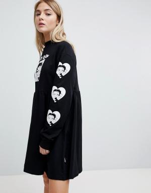 Lazy Oaf Трикотажное платье с принтом на рукавах X Betty Boop. Цвет: черный