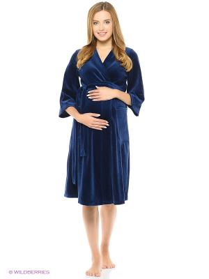 Халат женский для беременных и кормящих Hunny Mammy. Цвет: темно-синий