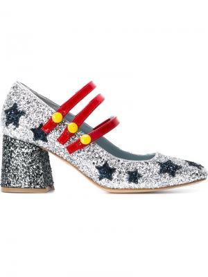 Туфли с аппликацией Chiara Ferragni. Цвет: металлический