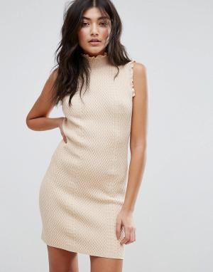 Endless Rose Фактурное облегающее платье с высокой горловиной. Цвет: розовый