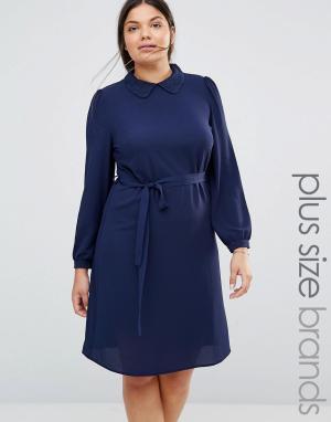 Koko Цельнокройное платье с кружевным воротником Plus. Цвет: темно-синий
