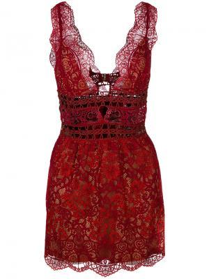Прозрачное платье из цветочного кружева For Love And Lemons. Цвет: красный