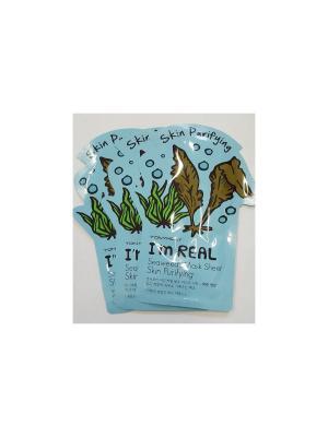 Набор тканевых масок противовоспалительная I AM REAL (морские водоросли), 3шт*21 мл Tony Moly. Цвет: белый
