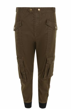 Укороченные брюки с манжетами накладными карманами Isabel Marant Etoile. Цвет: хаки