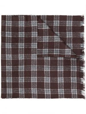 Тканый шарф в клетку Hackett. Цвет: коричневый