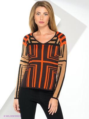 Пуловер Yuka. Цвет: оранжевый, темно-коричневый, бежевый
