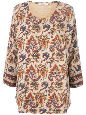 Блузка с рукавами три-четверти и принтом Mes Demoiselles. Цвет: телесный