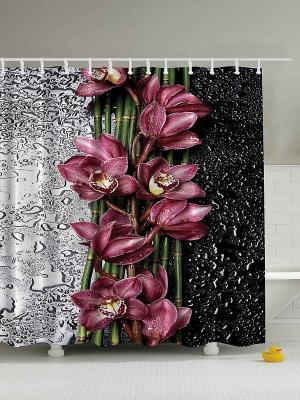 Фотоштора для ванной Алые цветы, 180*200 см Magic Lady. Цвет: черный, сливовый, серый, белый