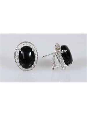 Серьги Lotus Jewelry. Цвет: серебристый, черный
