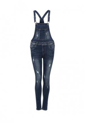 Комбинезон джинсовый Miss Bon. Цвет: синий