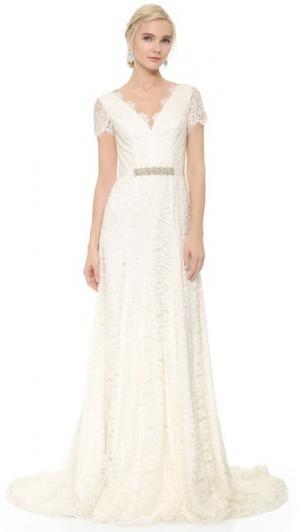 Вечернее платье Louise с поясом Theia. Цвет: оттенок белого