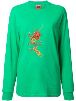 Embroidered dragon T-shirt Growing Pains. Цвет: зелёный