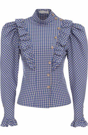 Хлопковая блуза в клетку с рукавом-фонарик Vika Gazinskaya. Цвет: разноцветный