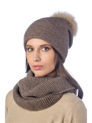 Комплект (шапка, снуд) Stilla s.r.l.. Цвет: темно-коричневый