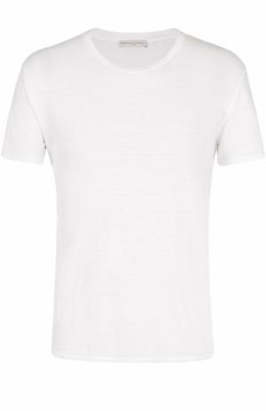Льняная футболка с круглым вырезом Daniele Fiesoli. Цвет: белый
