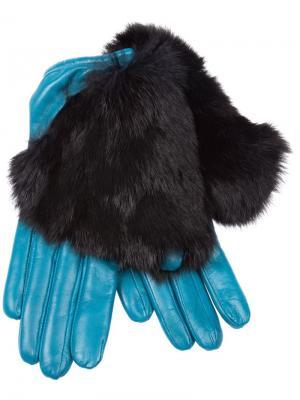 Перчатки с меховой отделкой Imoni. Цвет: синий