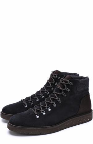 Высокие замшевые ботинки на шнуровке Hogan. Цвет: темно-синий