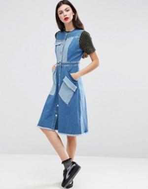 House of Holland Джинсовое платье. Цвет: синий