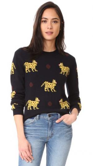 Кашемировый свитер с изображениями леопардов по всей поверхности Chinti and Parker. Цвет: темно-синий/мульти