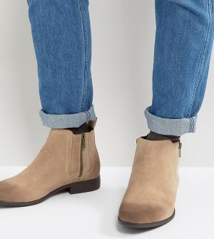 ASOS Бежевые ботинки челси из искусственной замши с молниями для широкой ст. Цвет: светло-бежевый