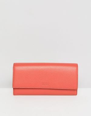 HUGO Кожаный кошелек с клапаном. Цвет: красный