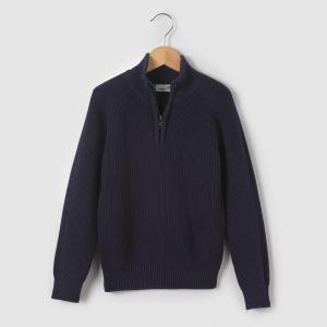 Пуловер с высоким воротником, 3-12 лет R édition. Цвет: серый меланж,синий морской