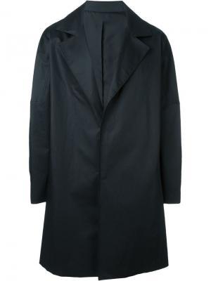 Пальто с широкими лацканами System Homme. Цвет: чёрный