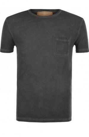 Хлопковая футболка с круглым вырезом Daniele Fiesoli. Цвет: темно-серый