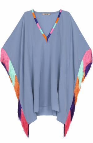 Шелковая туника с контрастной бахромой Lazul. Цвет: серо-голубой