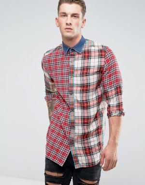 Diesel Рубашка в клетку с длинными рукавами и джинсовым воротником S-M. Цвет: красный