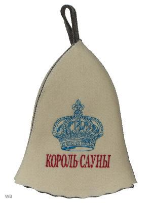 Шапка для бани с вышивкой в косметичке Король сауны Метиз. Цвет: серый, белый